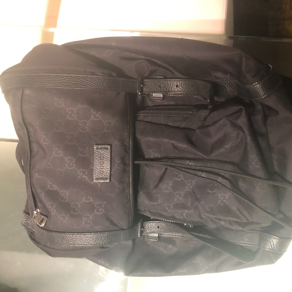 Gucci Gg Guccissima Travel Nylon Backpack, Black
